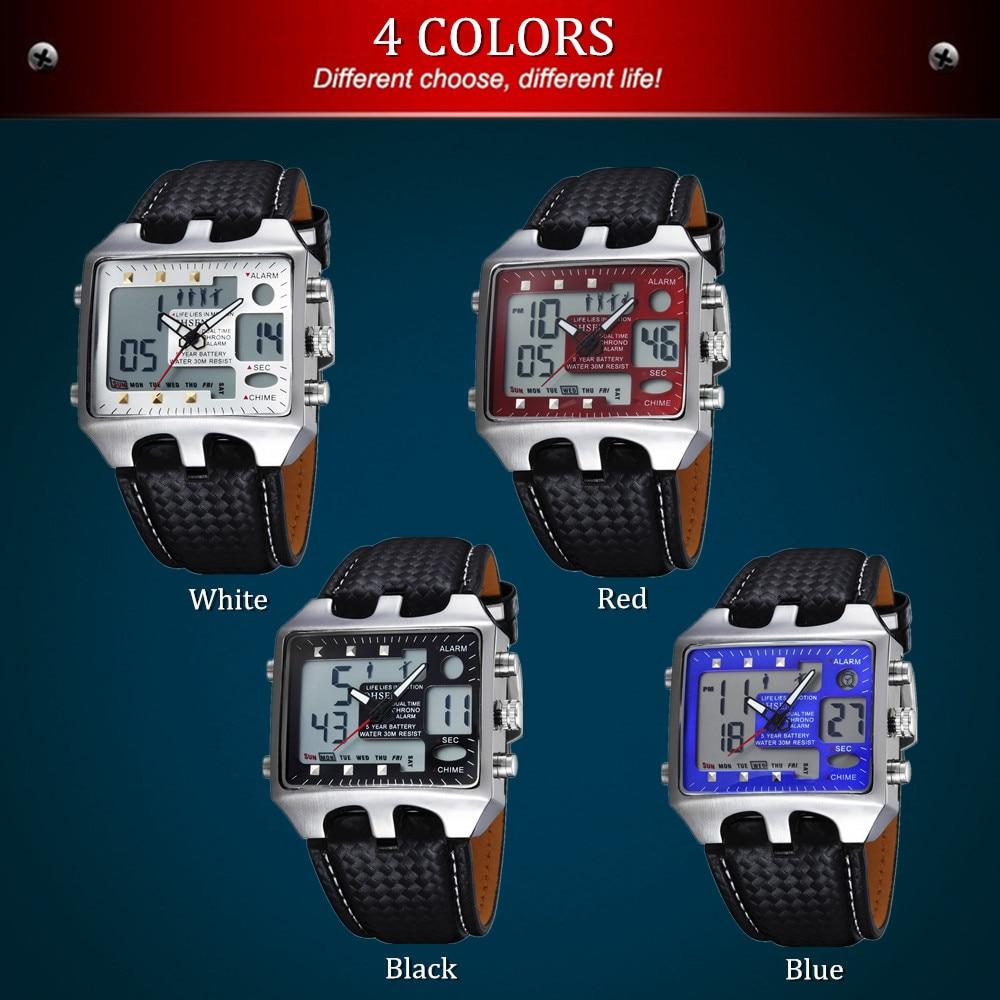 OHSEN Brand Digital Quartz Men Fashion White Wristwatches Genuine Leather Band 10M Waterproof Sport Watch Hand Clocks Male Gift