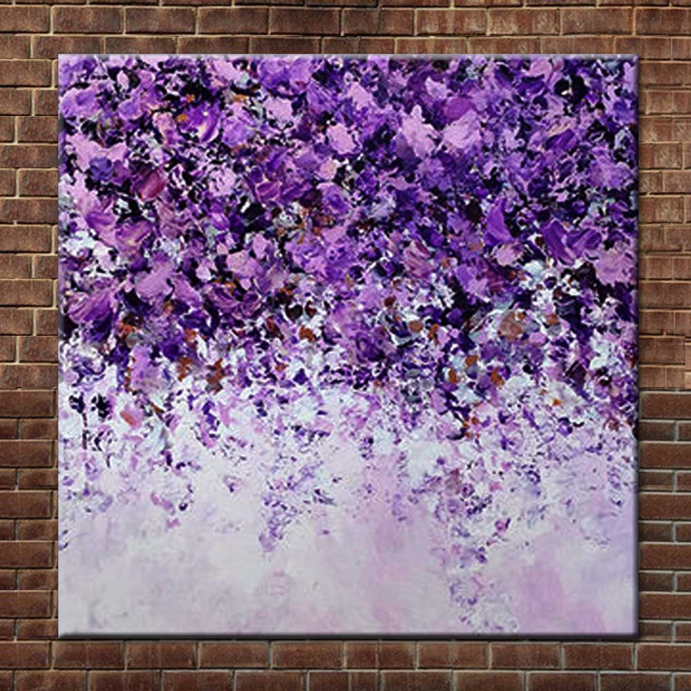 Purple Flower Oil Painting Abstract Wall Art Picture: Hand Painted Abstract Art Purple Flower Landscape Canvas
