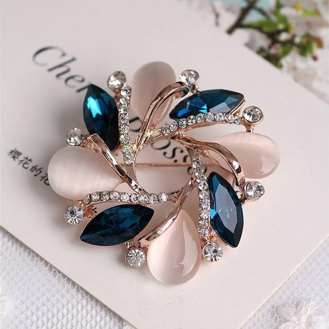 2018 Crystal Flower Brooch Pins Wedding Party Invitation Bijoux Brooches Fashion
