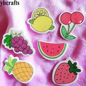 10PCS/LOT,Fruit grape cherry strawberry wood stickers,Wall Fridge stickers Spring crafts Restaurant decoration Craft material(China)