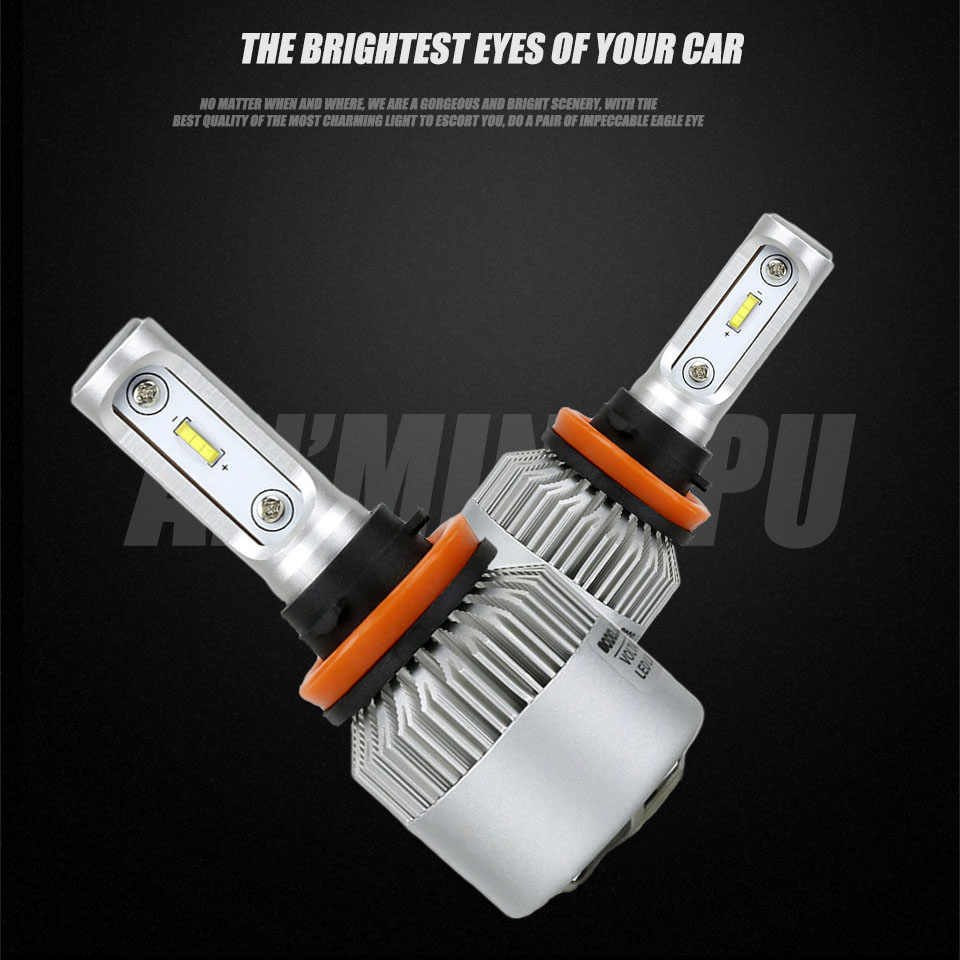 ANMINGPU 2x Car Headlight Bulbs 72W 16000LM/Pair H11 Led Bulb H4 H7 Led Bulbs Canbus 9005 9006 H9 H11 Led Fog Light Auto Lamps