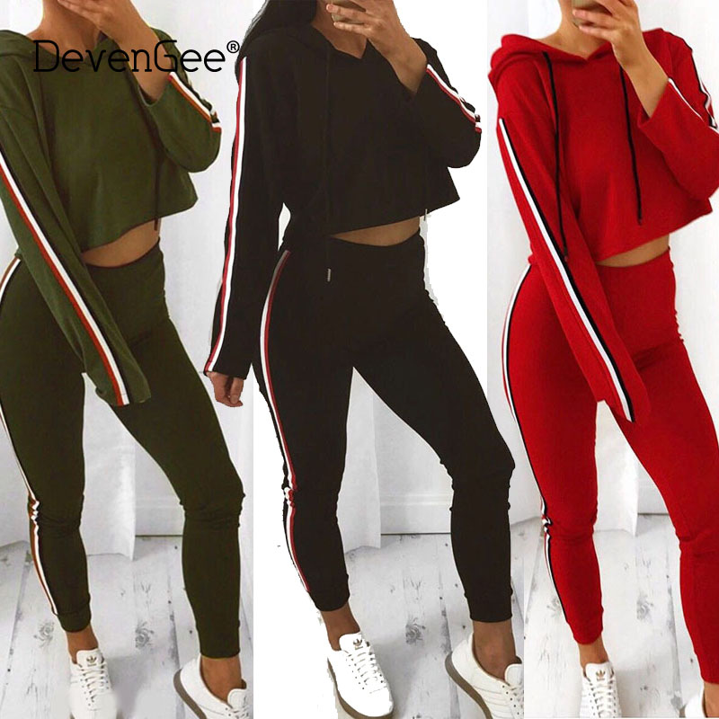 DevenGee Fashion Women's Clothing Tracksuit  Women Sweat Suit Two Piece Set Striped Crop Hoodies Top Pant Suit Sportswear 0026