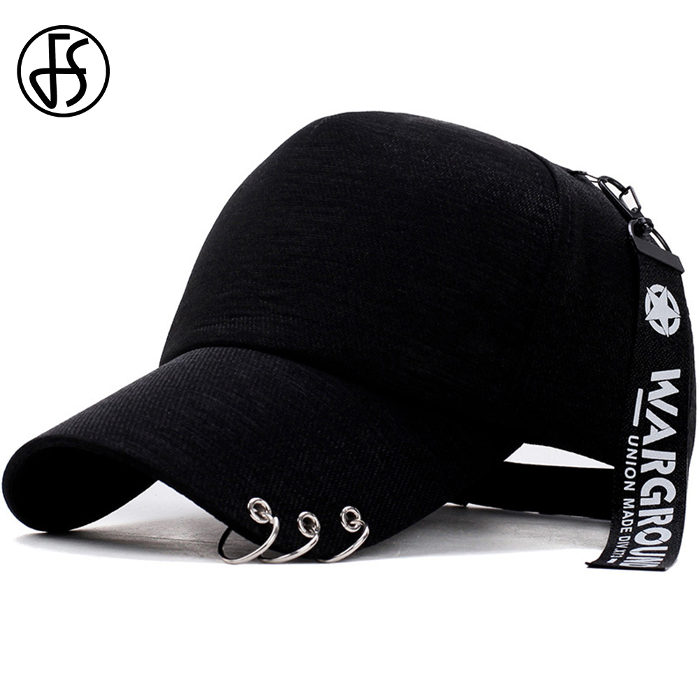 91c848d20253dd FS Fashion Iron Ring Korean Hat Women Men Baseball Caps Breathable Dad Hats  Hip Hop Bone