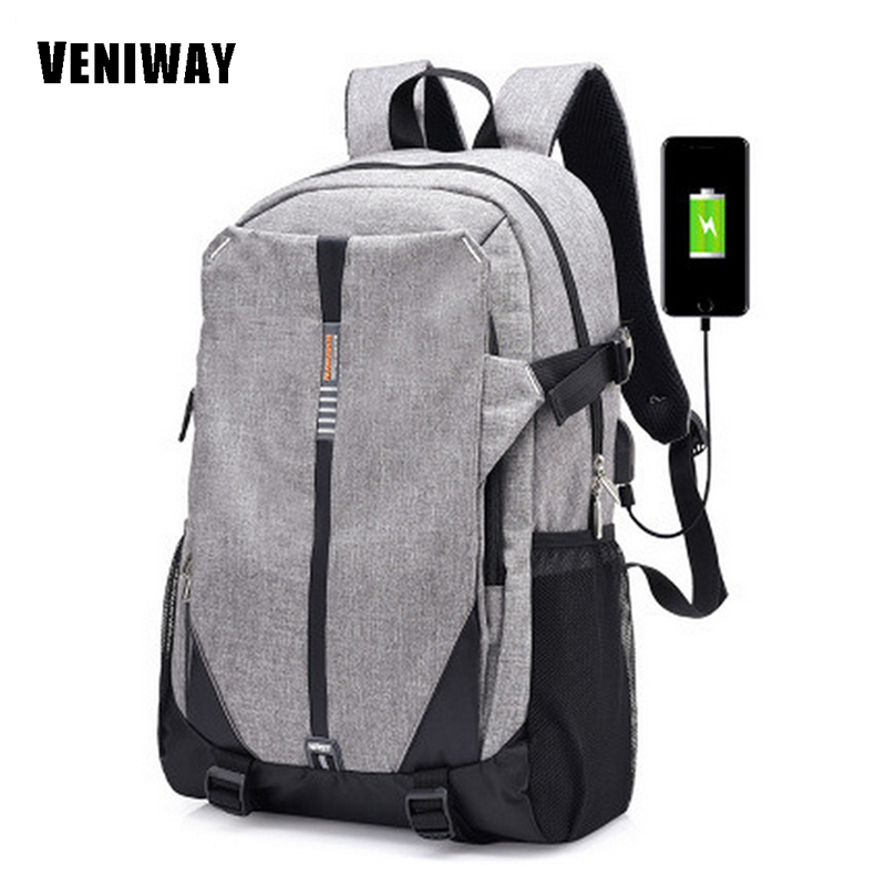 VENIWAY Canvas Backpack School Bags for Teenage Girls large capacity Bag Boys Backpack Male USB Schoolbag Women Backpacks Laptop sgarr women backpack nylon fashion waterproof school bag for teenage girls large capacity travel backpacks with earphone hole
