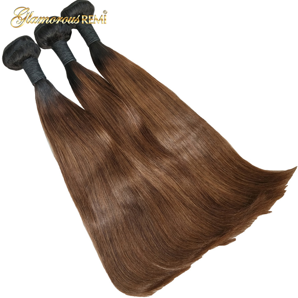 Ombre Hair Bundles Colored 1B 4 Brazilian Straight Human Hair Weave 2 Tone Dark Root 8'' 22'' Remy Hair Natural Look Funmi Hair