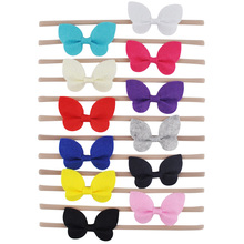 1 Pc Butterfly Hair Bows Headband With Elastic Nylon Hair Bands For Newborn Girls Boutique kids Hair Accessories