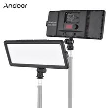 Andoer led painel de luz de vídeo 3200k 5600k bi color brilho regulável com montagem de sapata fria para câmera dslr canon nikon sony