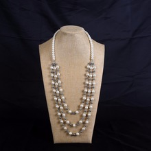 Long pearl necklace, multi-layer pearl necklace,  grey and white alternating pearl necklace, handmade pearl neckl