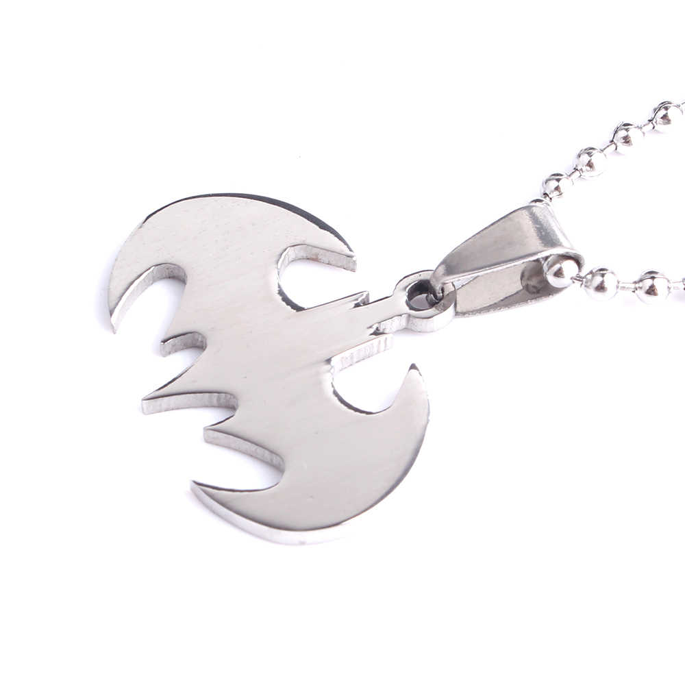 free shipping Silver Batman 316L Stainless Steel pendant necklaces bead chain for men women wholesale