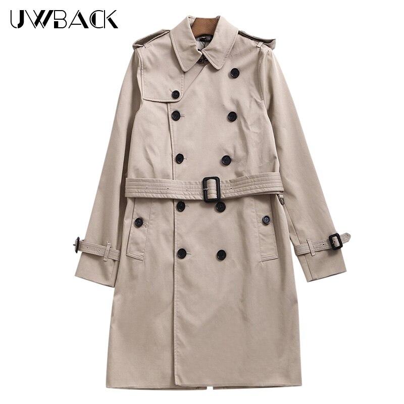 Uwback 2017 nouvelle marque automne longue tranchée manteau hommes plus taille d'affaires coupe-vent hommes long pardessus d'hiver tranchée manteau caa142