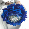Eternal Artificial Big Size Rose Beaded Wedding Bouquets Blue Brides Holding Flowers Ramos De Cristal Bridal Bouquet De Mariage