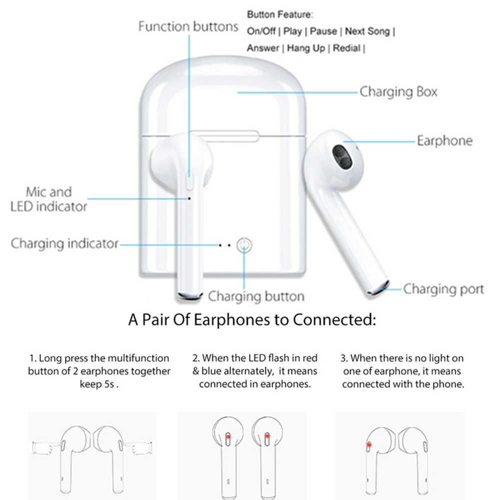 I7s TWS หูฟังบลูทูธหูฟังไร้สายมินิแฮนด์ฟรีกีฬาหูฟังไร้สายชุดหูฟังพร้อมกล่องชาร์จสำหรับ Xiaomi โทรศัพท์
