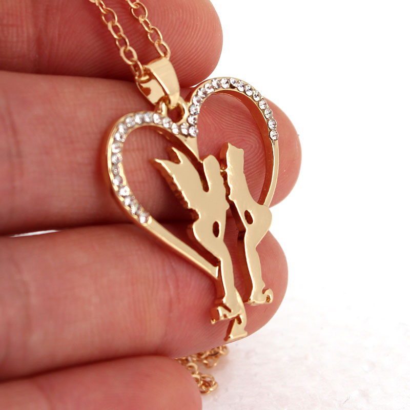 hzew new heart shape Angel and devil pendant necklace gift necklace in Chain Necklaces from Jewelry Accessories