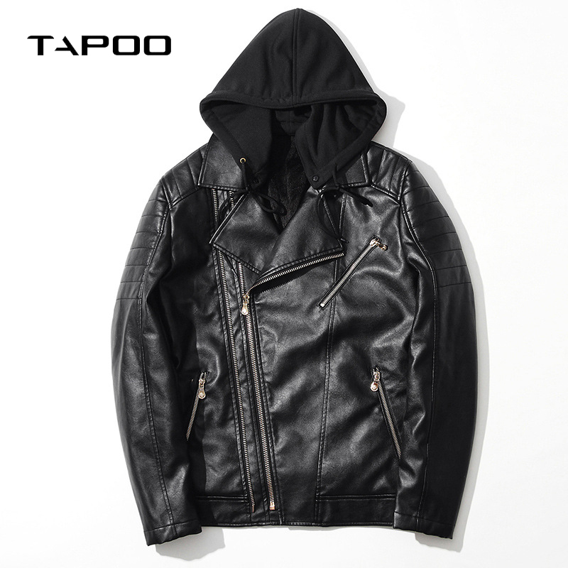 Mens Fashion Motorcycle Black PU Faux Leather Hooded Solid thick Jacket Men Casual Moto&Biker Slim Fit Leather Coat