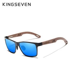 Image 5 - KINGSEVEN Brand New Design Aluminum+Walnut Wooden Handmade Sunglasses Men Polarized Eyewear Accessories Sun Glasses For Women