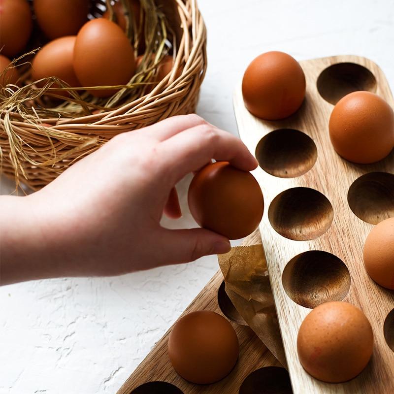 Wooden Double Row Egg Storage Box Home Organizer Rack Eggs Holder Kitchen Decor Accessories 5