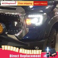Светодиодный комплект фар для Toyota Tundra 2009 2011, 2 шт., фары для автомобиля, ангельские глазки, ксенон, противотуманные фары, светодиодный, дневные ходовые огни