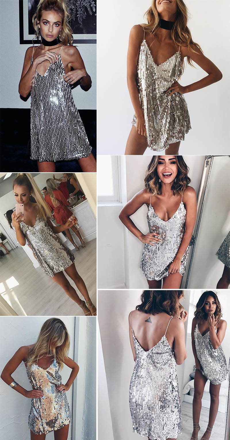 HTB1ZEwZqMoQMeJjy0Fnq6z8gFXaD - Deep V Neck Autumn Silver Sequined Backless Sexy Dress Women Off Shoulder Mini Dress Christmas Party Club Strap Dresses Vestidos