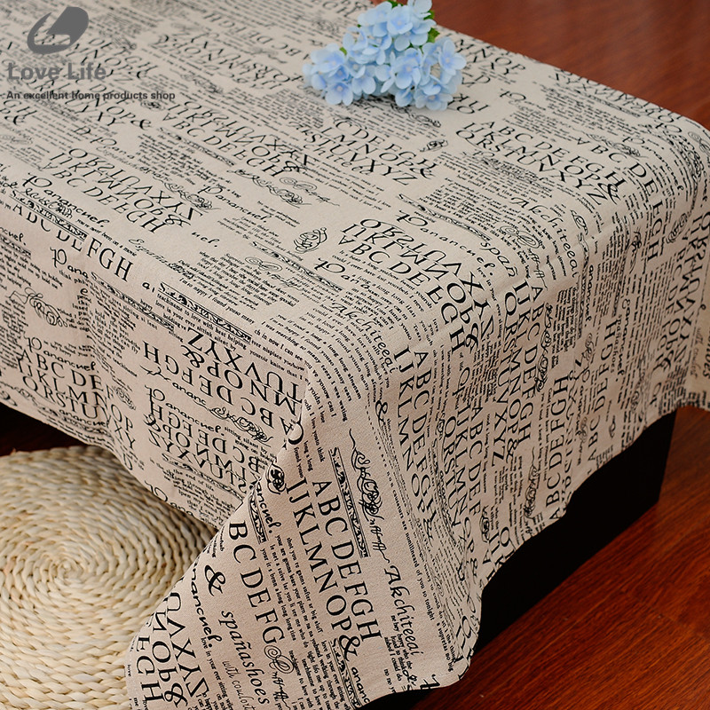 Letter Linen Table Cloth Print European Style Rectangular Coffee Table Covers Cloths Multifunctional Tablecloth Free Shipping