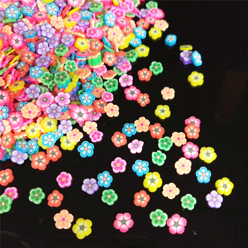 20g/lot Flowers Polymer Clay Sprinkles Colorful Plastic Klei Tiny Floret Mud Particles Plum Blossom Fimo For Shaker Cards