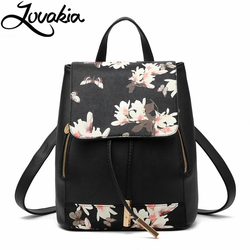 LOVAKIA spanish brand design pu women leather backpacks school bag student backpack ladies print bags leather package femal luxury fashion retro pu leather famous brand women backpack american style ladies dark green bag college student school bags