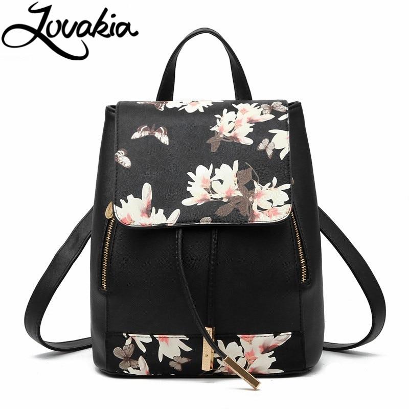 LOVAKIA spanish brand design pu women leather backpacks school bag student backpack ladies print bags leather package femal
