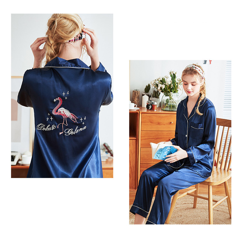 Embroidery Flamingo   Pajamas     Set   Women Silk Sexy Pyjamas Female Mom Home Sleepwear Long Pants Shirt Blinder 3 Piece/  Set