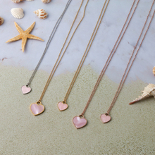 Mavis Hare Pink Sea shell Heart Stainless Steel Necklace with samll and big Heart Natural seashell Chain as Mother's day gift
