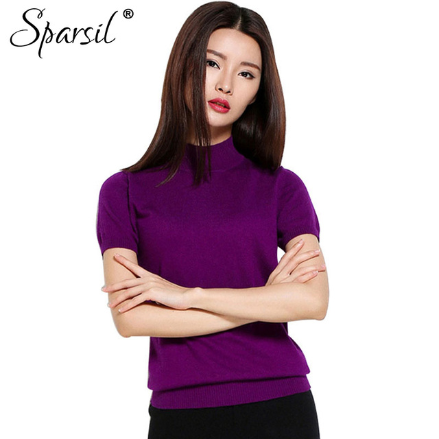 Sparsil verão mulheres o pescoço mistura de algodão de malha pullovers estilo jumper de malhas blusas de manga curta slim