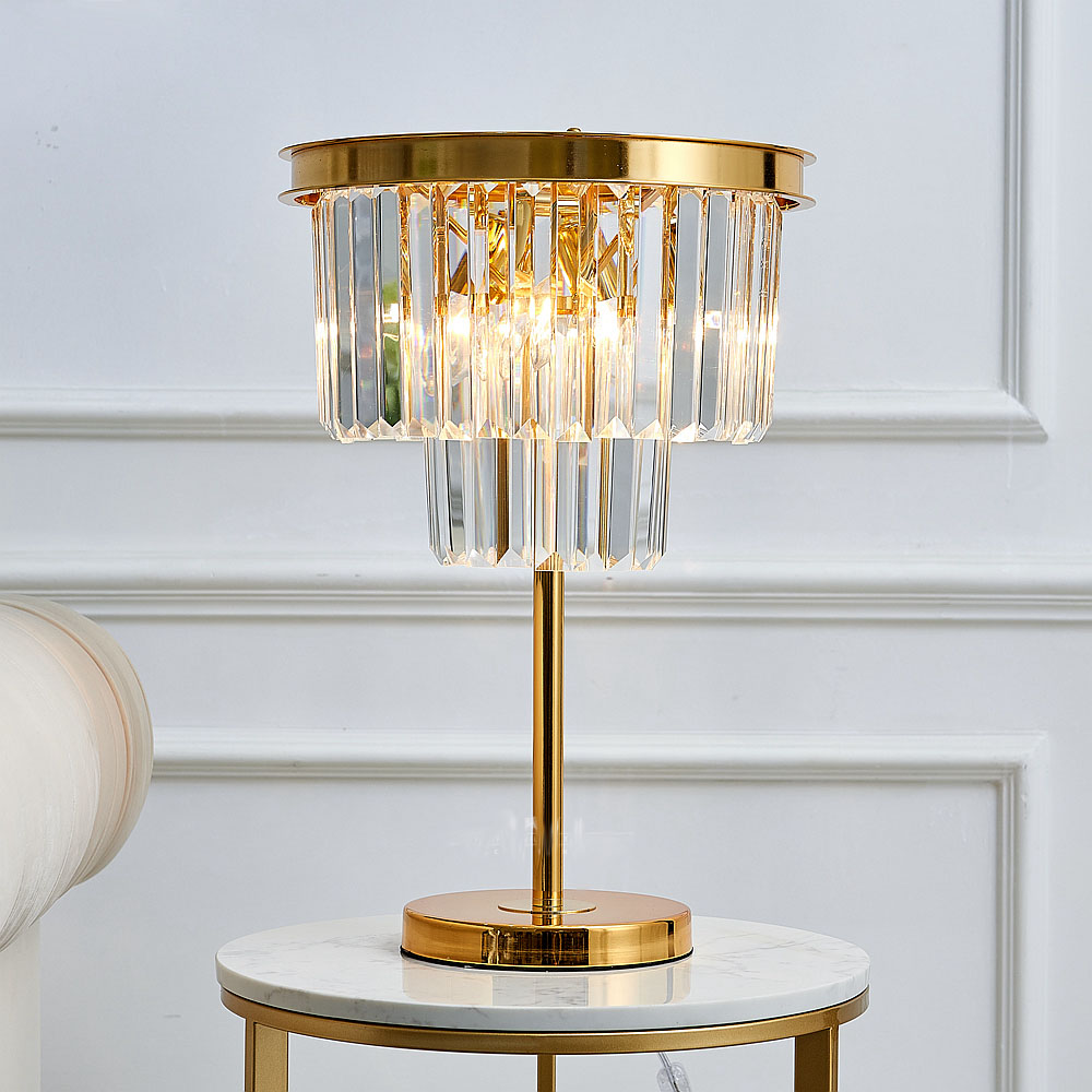 Modern LED Metal Lamp Crystal Shade Bedroom Bedside Table Lamp for The Living Room Study Home Lighting Fixtures With Marble Base ...