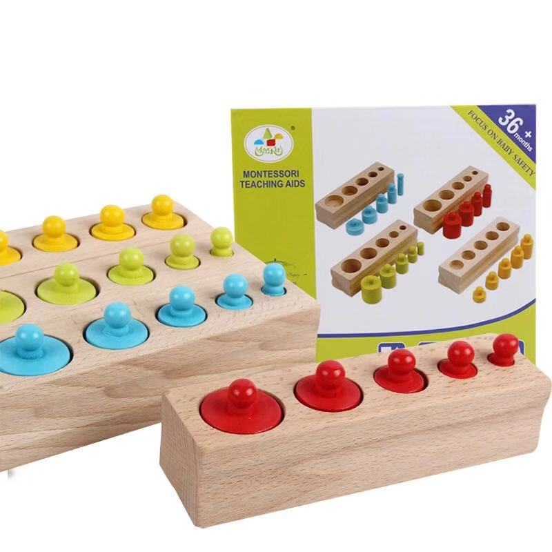 Montessori Cylinders For Kid Children's Educational Toys Wooden Toys Gifts For Baby 2 Year Shipping From Russia