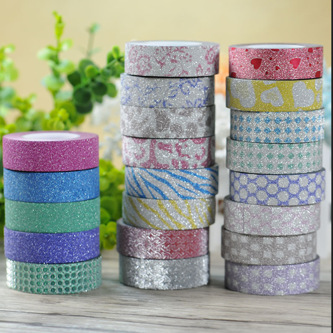 How to scrapbook with glitter - 1pcs Shimmering Powder Glitter Diy Decorative Scrapbooking Sticky Paper Masking Adhesive Tape Random Color