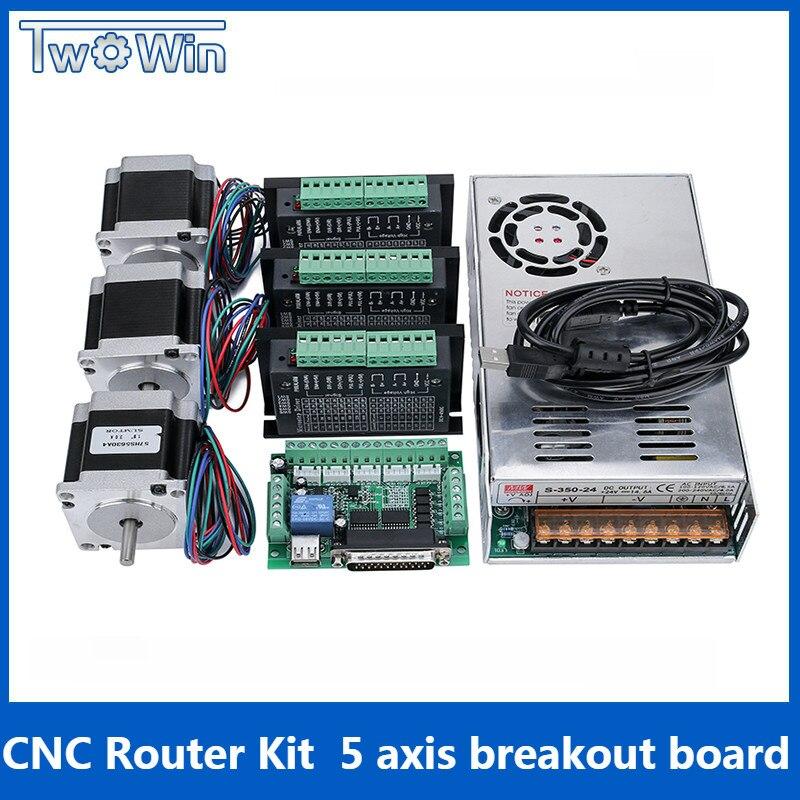 3 оси ЧПУ комплект, 3 шт TB6600 4A Драйвер шагового двигателя + Nema23 motor57HS5630A4 + 5 осевой интерфейс доска + Питание