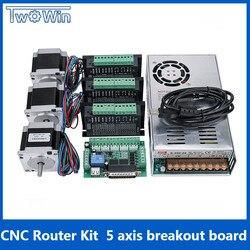 3 assi CNC Kit Router, 3 pcs TB6600 4A driver motore passo a passo + Nema23 motor57HS5630A4 + 5 Assi scheda di Interfaccia + Alimentatore