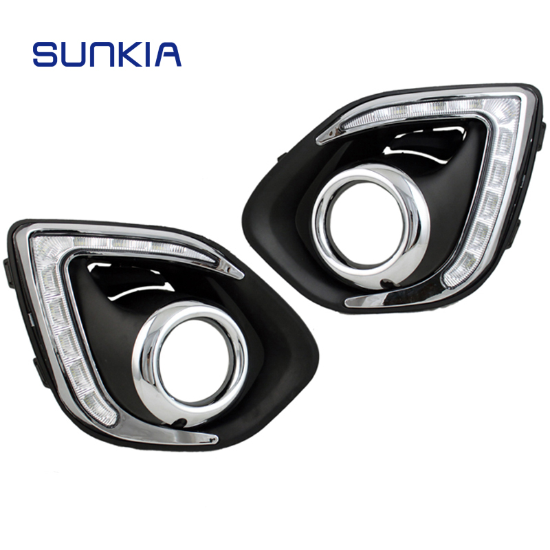 SUNKIA Car LED DRL Daytime Running Light with Fog Lamp Hole for Mitsubishi ASX 2013-2015 White Light + Amber Turn Signal led drl day lights for mitsubishi asx 2013 2014 2015 daytime running light driving fog run lamp with yellow turn signal