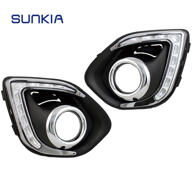 Sunkia автомобиля светодиодный drl дневные Бег света противотуманных отверстие для Mitsubishi ASX 2013-2015 белый свет + янтарный поворотов