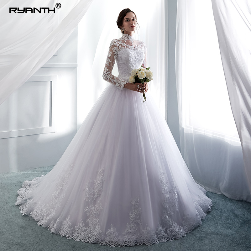 Ryanth Vestido De Noiva High Neck Long Sleeve Wedding Dress 2018 Lace Ball Gown Vintage Wedding