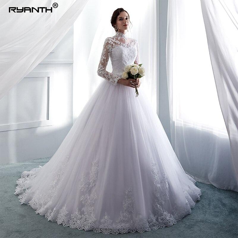 High Neck Wedding Dresses Elegant Ball Bridal Gown Full Lace Long Sleeve Custom