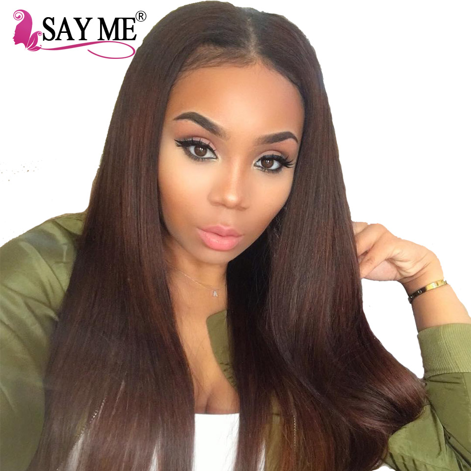 SAY ME Brazilian Straight Hair Weave Bundles Color 2 Dark Brown Colored  Non Remy Human