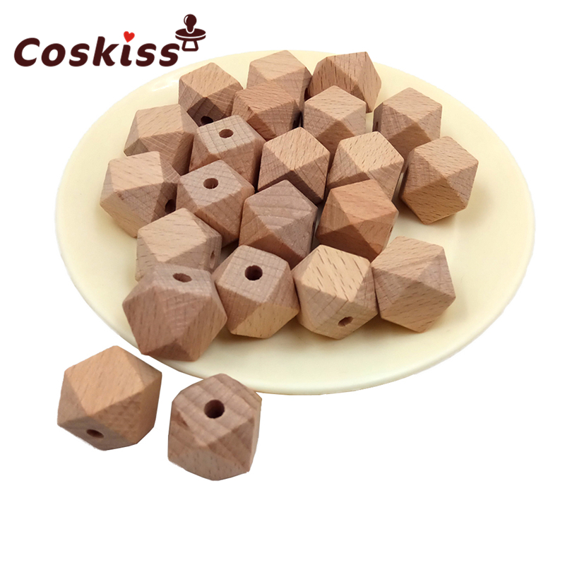 30pcs Beech Wood Bead Unfinished Natural 18mm Geometric Hexagonal Wooden Beads For DIY Baby Teether Nacklace
