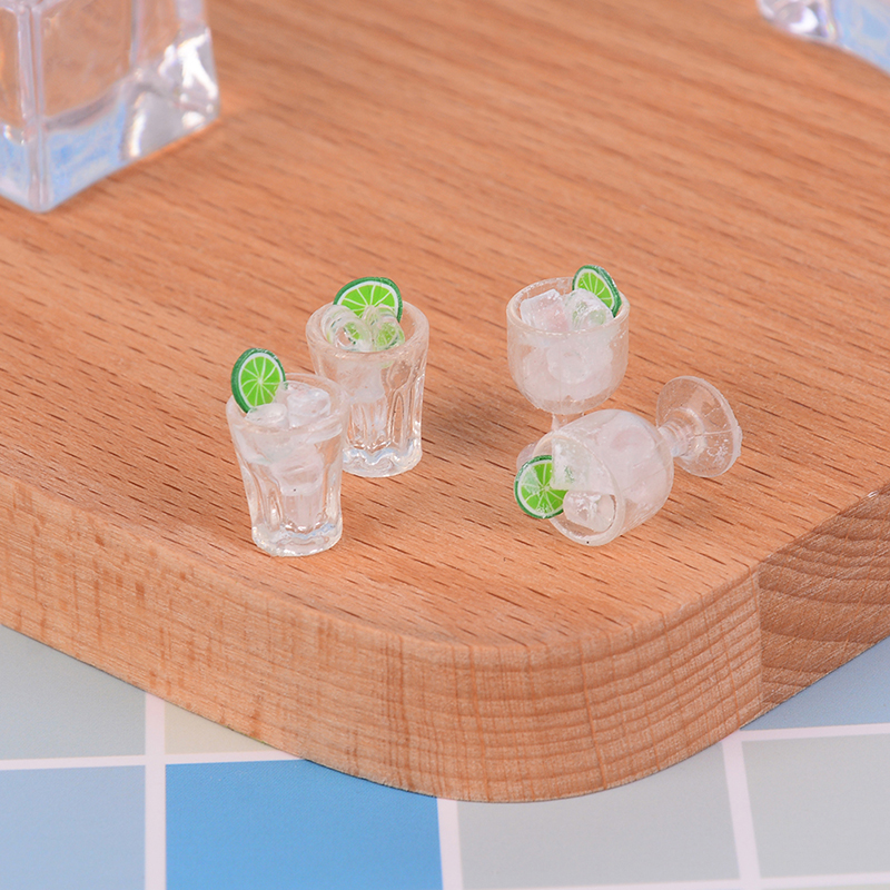 2Pcs Model Miniature Food Mini Glass Cup + Ice Cube Simulation Goblet Cup Model Toy Doll House Decor Kitchen Toy