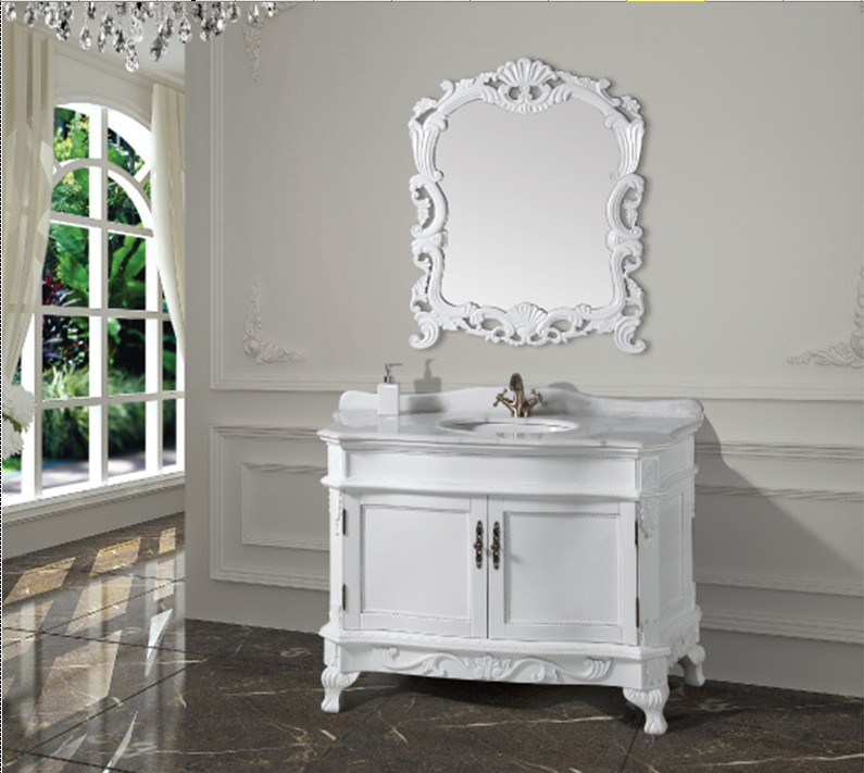 Permalink to Fashion white antique bathroom cabinet  with mirror and basin counter top  classic bathroom vanity better than PVC vanity
