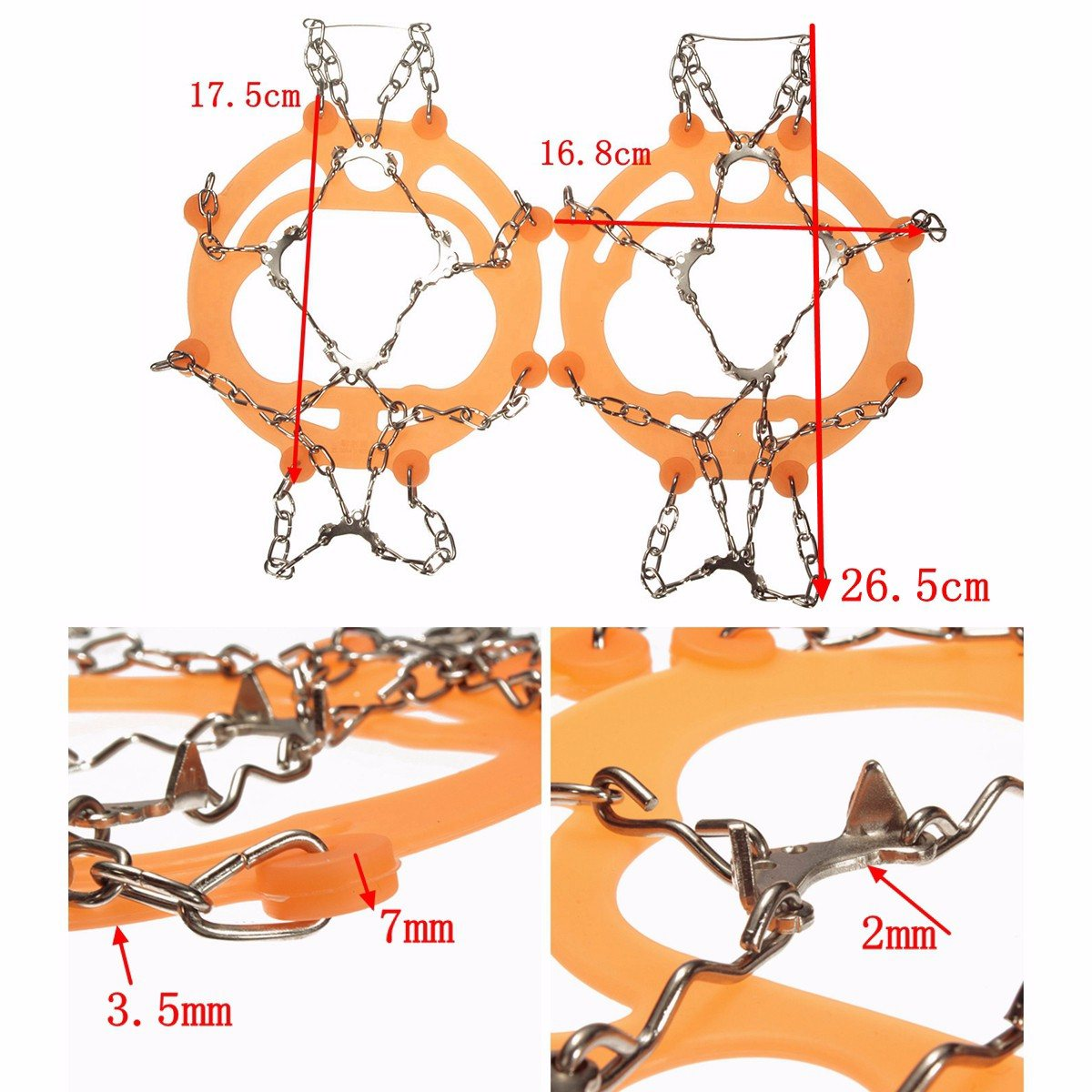 BSAID 1 Pair Snow Ice Grips Size L Camping Crampons 10-Teeth Slip Climbing Anti-slip Ice Gripper Chain Spikes For Shoes Boots