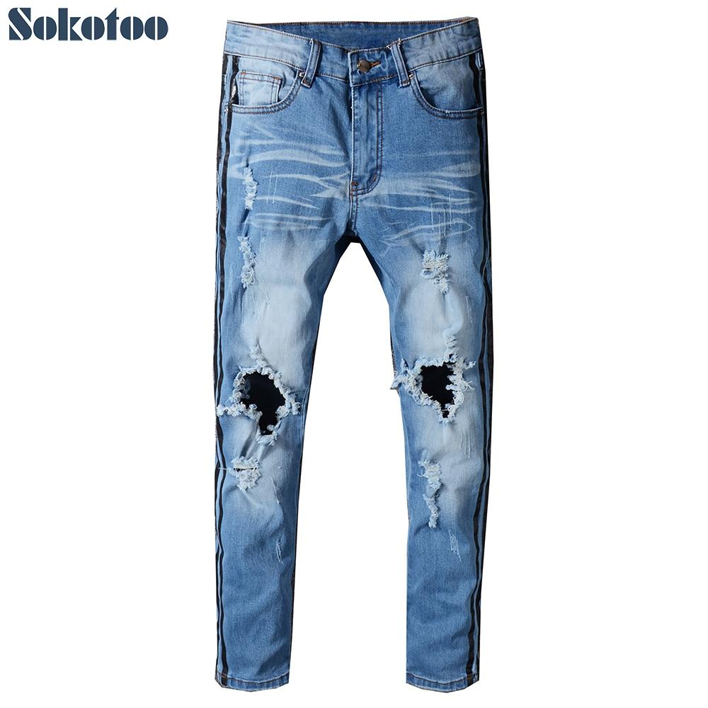 Sokotoo Mens stripe printed medium blue stretch denim ripped jeans Slim skinny holes distressed pants