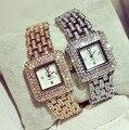 Chegada nova Famosa Marca BS Mulheres De Luxo Vestir Relógio de Senhora Jóias Assista New Fashion Square Áustria Cristal Cheio de Diamantes Assistir