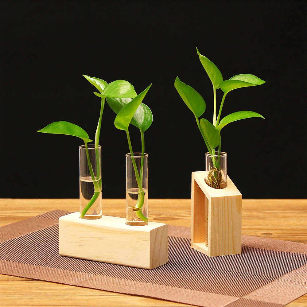 ISHOWTIENDA креативная прозрачная ваза для гидропоники, деревянная рамка, декор для кофейни, комнаты, стеклянный Настольный завод, бонсай, Dec