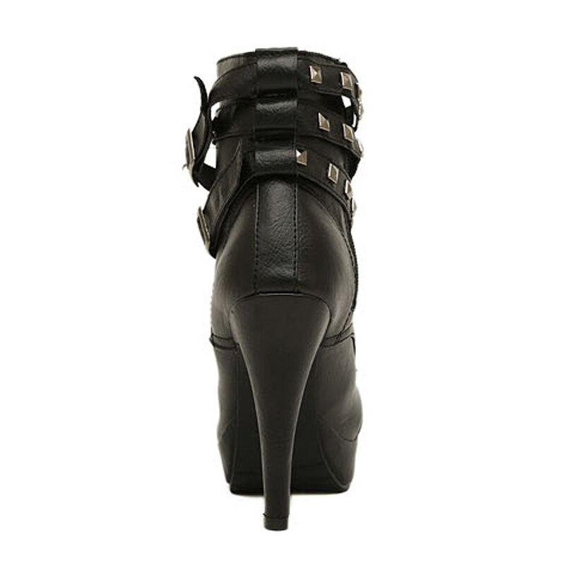 En Chaussons Bottes Noir 35 Talons La Pointu Rivets Hauts Cm De Style Taille Black Britannique 42 Pu Femmes Cuir 12 Plus Silentsea 6qg0HAA