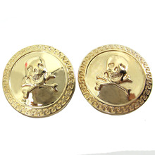 Free Shipping 30pcs Gold Tone Skull Pattern Metal Buttons Decorative 7/8 22.0mm Sewing