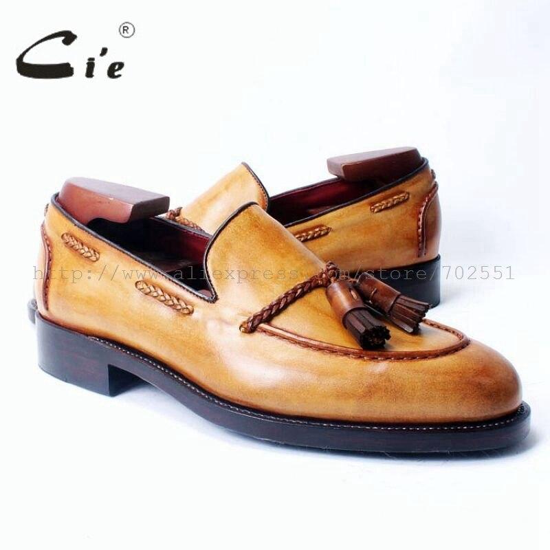 Cie Frete Grátis Dedo Do Pé Redondo Equimose Goodyear Craft Handmade Borla Loafer sapato slipon Bezerro Cor Marrom De Couro Dos Homens Casuais 54
