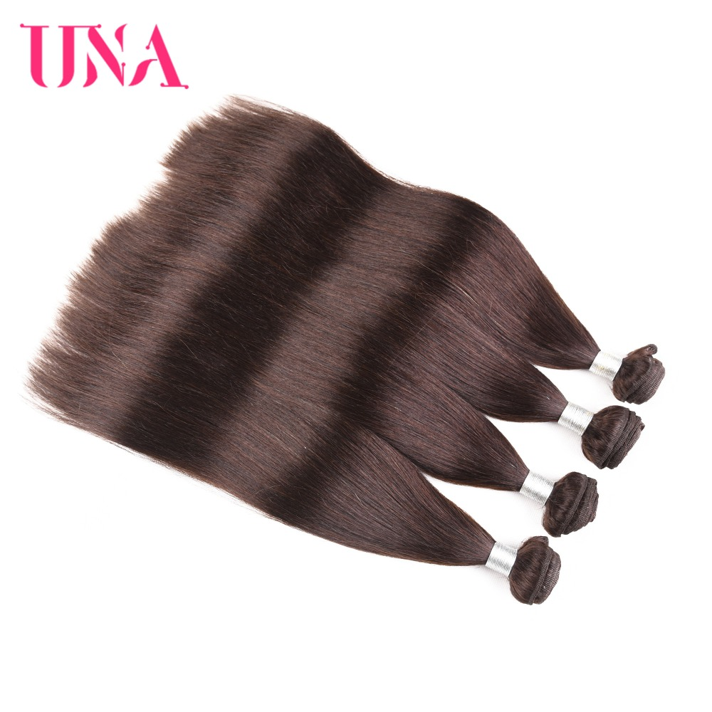 UNA Brazilian Hair Weaves 4 Bundles Deal Color # 2 Straight Hair - Žmogaus plaukai (juodai)